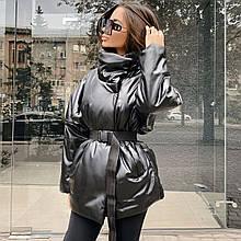 Куртка женская демисезон с поясом черная