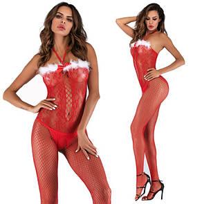 Новогодний сексуальный комбинезон  бодистокинг боди сетка сексуальное белье