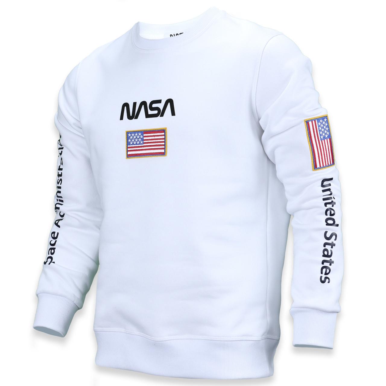 Свитшот осень-зима мужской белый NASA №5 патч, рис на рукавах WHT M(Р) 20-522-003-003