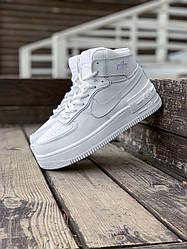 Жіночі кросівки Nike Air Force (нат.хутро) (білі)