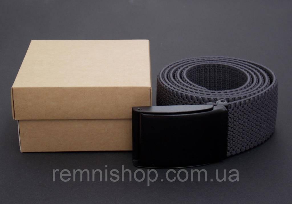 Тканевый серый ремень в подарочной упаковке