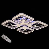 LED люстра пульт димер подсветка квадратная с камушками цвет белый 85W Diasha&S8157/4WH LED 3color dimmer