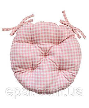 Подушка на стул круглая D 40 Прованс BellaРозовая клетка
