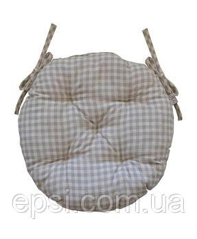 Подушка на стул круглая D 40 Прованс Bella Серая клетка