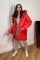 Трендовый теплый фабричный пуховик с шарфом Лили 8365, фото 1