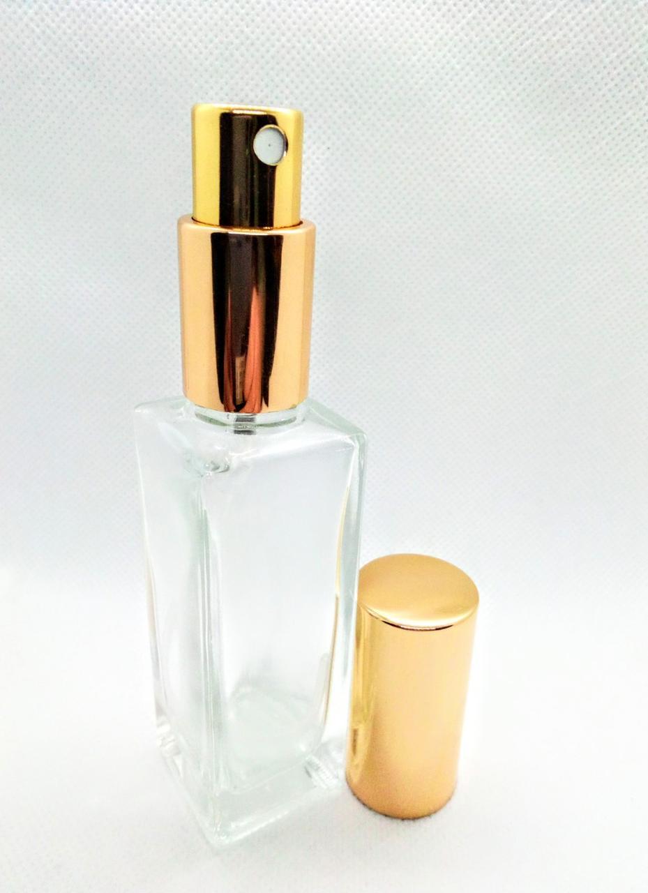 Флакон 35 мл скляний Гранд з металевим спреєм золотий ковпачок