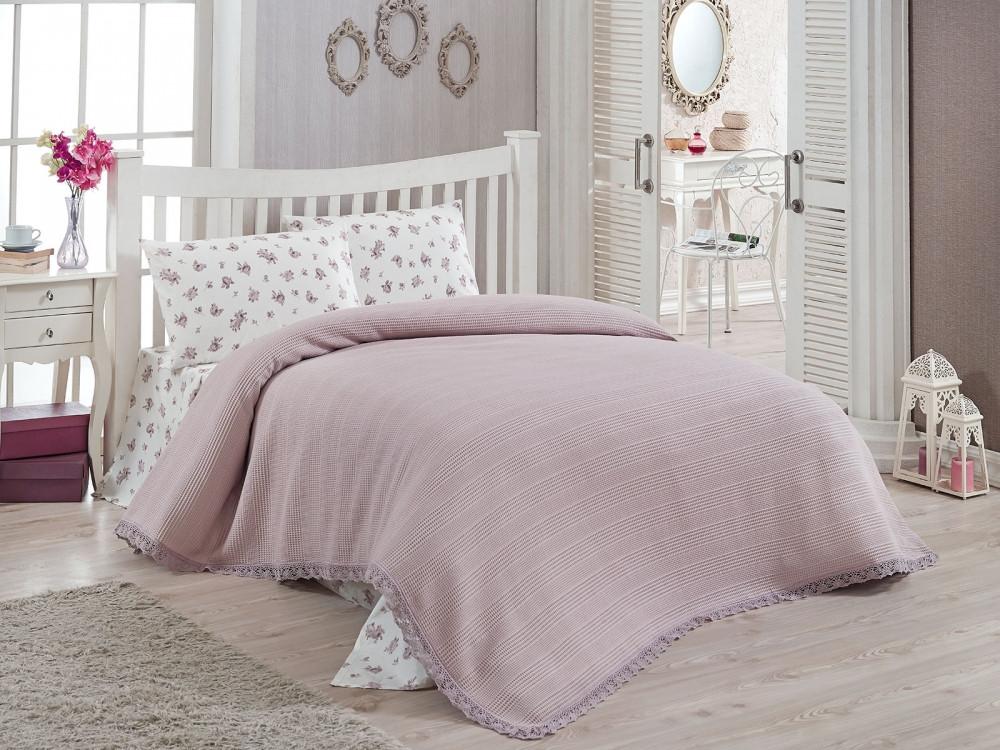 Комплект постельного белья Doco Pike Takimi евро с вафельным покрывалом, 2097_lila