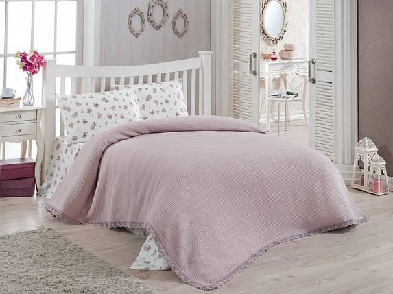 Комплект постельного белья Doco Pike Takimi евро с вафельным покрывалом, 2097_lila, фото 2