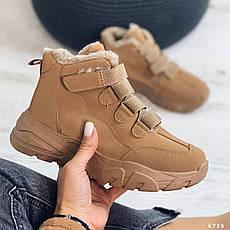 Кросівки жіночі коричневі, зимові з еко замші. Кросівки жіночі теплі коричневі на платформі, фото 3