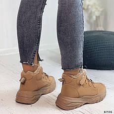 Кросівки жіночі коричневі, зимові з еко замші. Кросівки жіночі теплі коричневі на платформі, фото 2