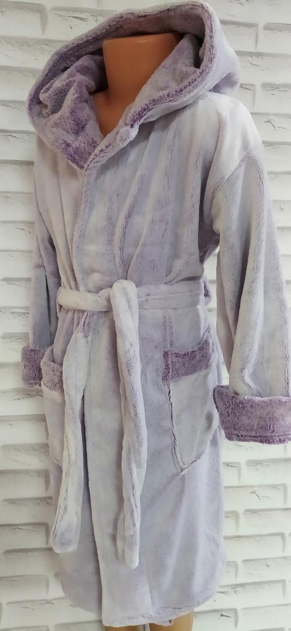 Халат детский софт р.8-ка (на 8-9 лет) для девочки с капюшоном и карманами на запах