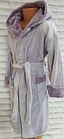 Халат детский софт р.8-ка (на 8-9 лет) для девочки с капюшоном и карманами на запах, фото 1