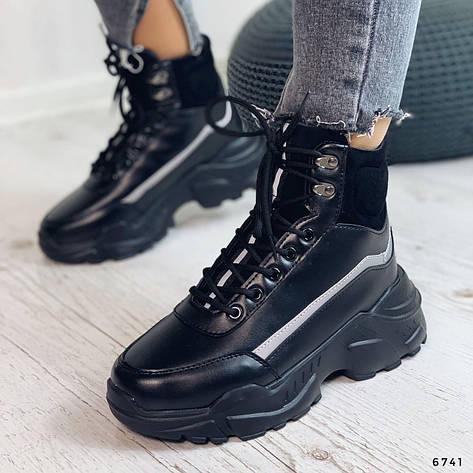 Кросівки жіночі чорні, зимові з еко шкіри. Кросівки жіночі теплі чорні на платформі, фото 2