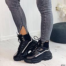 Кросівки жіночі чорні, зимові з еко шкіри. Кросівки жіночі теплі чорні на платформі, фото 3