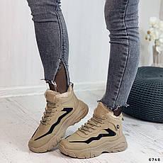 Кроссовки женские коричневые, зимние из эко замши. Кросівки жіночі теплі коричневі на платформі, фото 2