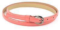 Женский тонкий лаковый ремешок кожзам коралового цвета art. (73730)