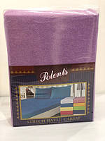 Махровые простыни на резинке Polents Mor хлопок 220-240 см фиолетовая, фото 1