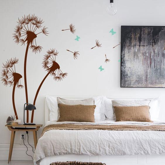 Виниловая наклейка Три одуванчика с бабочками и пушинками (наклейки цветы на стены) матовая Набор 3 цветка