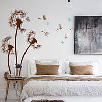 Вінілова наклейка Три кульбаби з метеликами і пушинками (наклейки квіти на стіни) матова Набір 3 квітки, фото 1