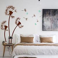 Виниловая наклейка Три одуванчика с бабочками и пушинками (наклейки цветы на стены) матовая Набор 3 цветка, фото 1