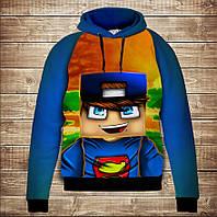 Толстовка с капюшоном и принтом 3D Minecraft / майнкрафт Стив