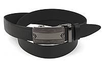 Стильный мужской кожаный ремень с качественной пряжкой автомат 3,5 см Украина (104143) черный