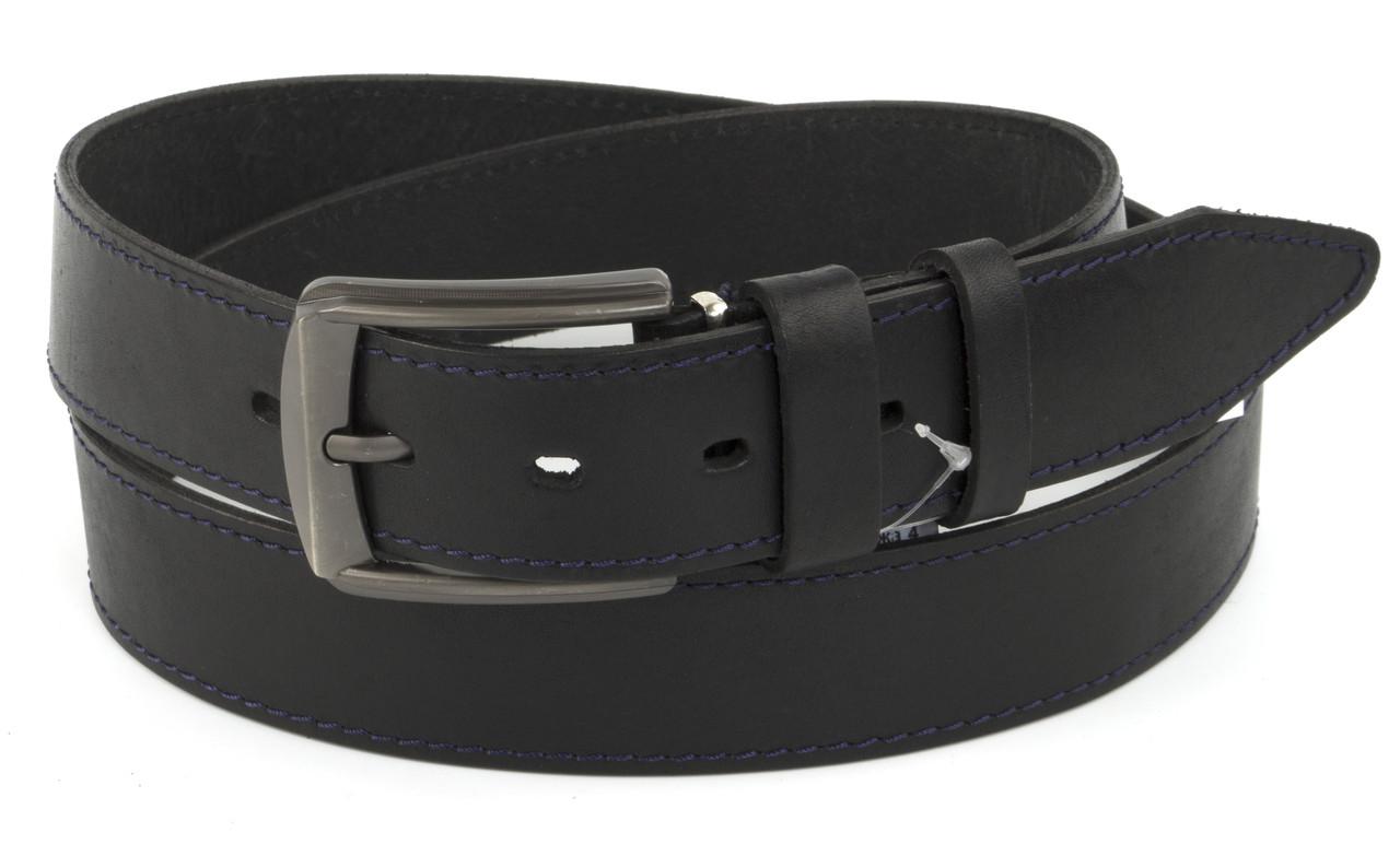 Прочный мужской кожаный качественный черный  4 см Украина