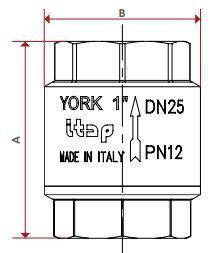 "Клапан зворотного ходу води ITAP YORK 103 1"", фото 2"