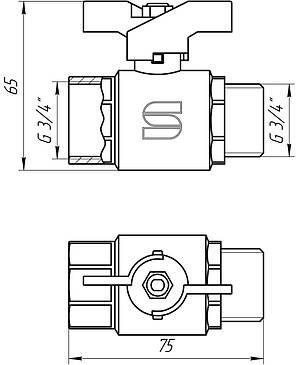 """Кран кульовий 3/4"""" НВ КБ SL1508 Selba GERMANY, фото 2"""