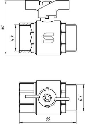 """Кран кульовий 1"""" НВ КБ SL1508 Selba GERMANY, фото 2"""