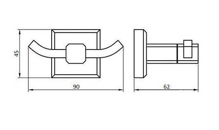 Подвійний гачок для рушників PERFECT SANITARY APPLIANCES КВ 9925, фото 2