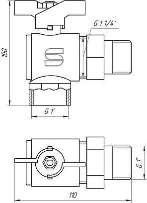 Кран кульовий кутовий з 'американкою' SELBA 1' КБ SL 1543, фото 2