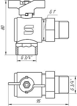 Кран кульовий кутовий з 'американкою' SELBA 3/4' КБ SL 1543, фото 2