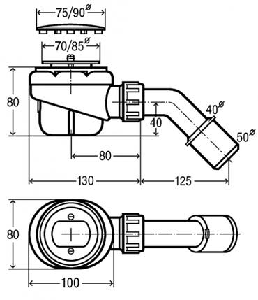 Сифон для душового піддону Viega Domoplex 208615 (90мм), фото 2