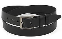 Прочный надежный кожаный мужской ремень классика 3,5 см кожа БАТАЛ (73676) черный