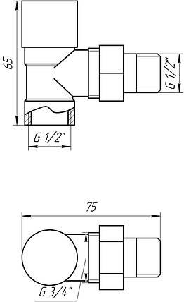 Кран кутовий під ключ з накидною гайкою 1/2' Solomon CHROM Art. 1844, фото 2