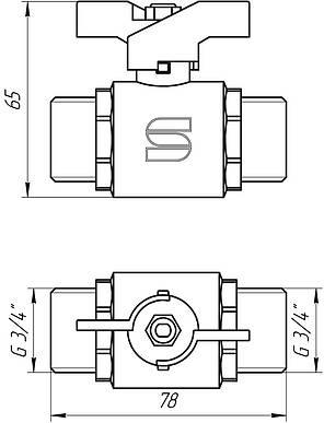 """Кран кульовий 3/4"""" ПН КБ SL1503 Selba GERMANY, фото 2"""
