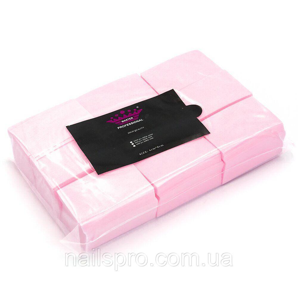 Безворсовые салфетки для маникюра Master Professional 1000 шт, розовые