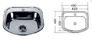MR 4946 Мийка прямокутна врізна (з закругленими кутами) 490х460х180 Satin, фото 2