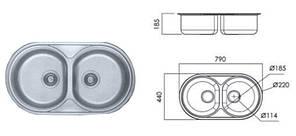7113 Мийка кругла 2-ва врізна 790х440х185 DECOR, фото 2