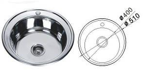 MR 510 Мийка кругла, врізна 510х180 Decor, фото 2