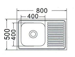 MR 8050 Мийка прямокутна накладна 800х500х180 Decor Left, фото 2