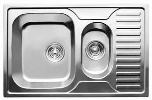Мийка прямокутна подвійна з полицею, врізна 780x500x180 Polish, фото 2