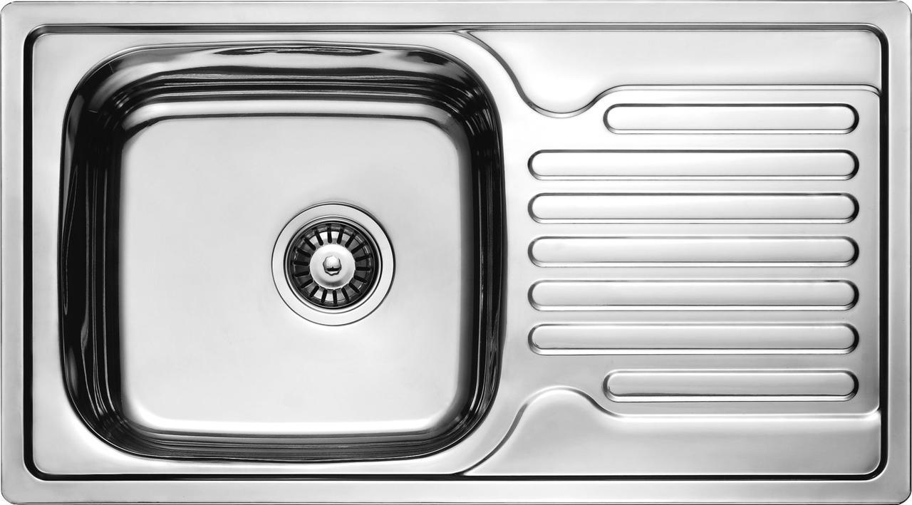 Мийка кухонна Cristal прямокутна з полицею, врізна 780x430x180 SATIN