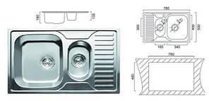 Мийка кухонна Cristal прямокутна подвійна з полицею, врізна 780x500x180 Decor, фото 2