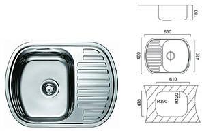 7704 Мийка Cristal прямокутна з полицею врізна (з закругленими кутами) 630х490х180 SATIN, фото 2