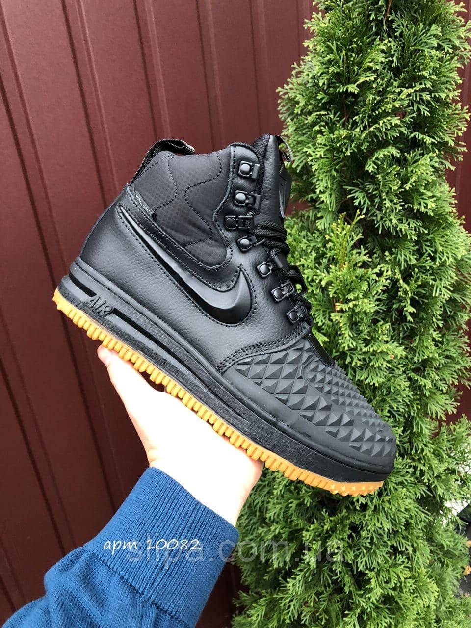 Мужские зимние кроссовки Nike Lunar Force 1 Duckboot чёрные на жёлтой подошве