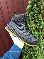 Мужские зимние кроссовки Nike Lunar Force 1 Duckboot чёрные на жёлтой подошве, фото 1