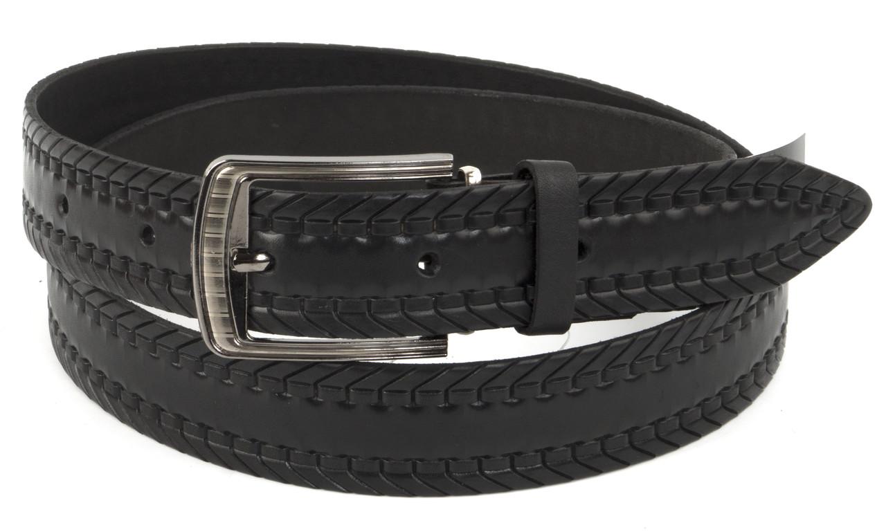 Прочный мужской кожаный качественный ремень 3,5 см черный (73633) Украина