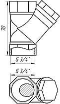 """Фільтр грубої очистки Solomon 8011 кутовий бронзовий 3/4"""", фото 3"""
